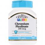 21st Century Chromium Picolinate 200мкг 100таб