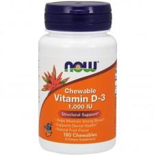 Vitamin D-3 1000IU 180таб жевательных NOW